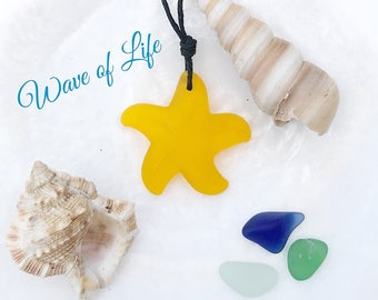 Yellow Sea Glass Starfish Necklace Saffron Sunflower Up Cycled  Boho Summer Beach Style by Wave of Life