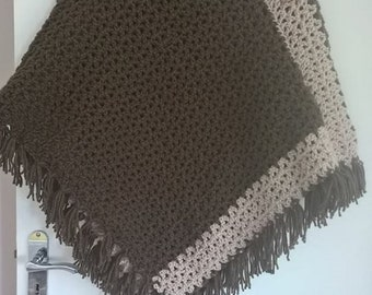 Hand Crochet Chocolate Brown and Oatmeal Ladies Toggle Poncho