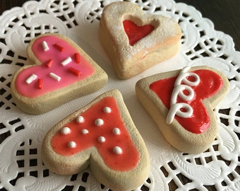"""AG Doll Food - Heart-shaped Valentines Sugar Cookies for 18"""" Dolls, American Girl Doll, Miniature Food, Polymer Clay Food"""