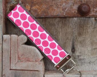 Wrist Key Chain--Wristlet--Key Chain--Hot Pink Dots on Gray