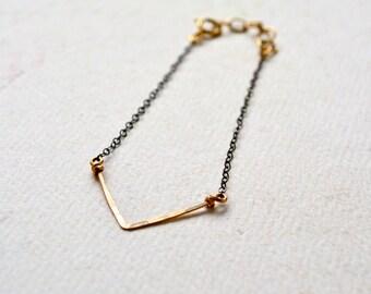 Chevron Bracelet - mixed metal chevron bracelet, oxidized silver chevron jewelry, bridesmaid gift, B05/B06/B11