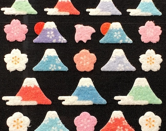 Mount Fuji Stickers - Mountain Stickers - Japanese Stickers -   Fuzzy Stickers S217