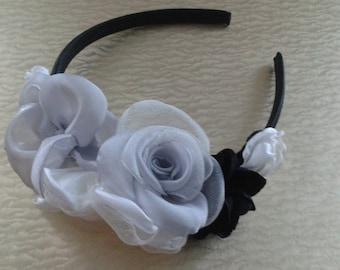 Headband, handmade fabric Flowers.
