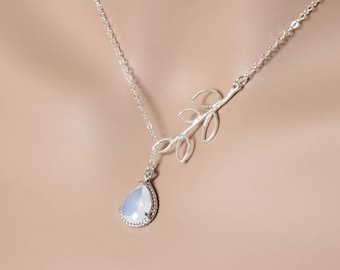 Opal Lariat Leaf Necklace, Lariat Necklace, October Birthstone, Wedding Jewelry, For Her, Opal Necklace, Lariat Jewelry, BeadXS, Gift