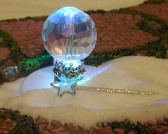 Magic Crystal Ball with Wand & Rainbow Tea Light, Fairy Garden Crystal Ball or Mini Crystal Orb, Fairy Garden Supplies, Mini Magic Wand