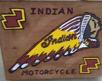Vintage Cigar Box with Indian Motorcycle emblem