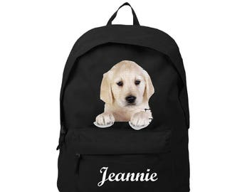 bag has black Labrador personalized with name