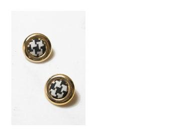 1980s Houndstooth Earrings