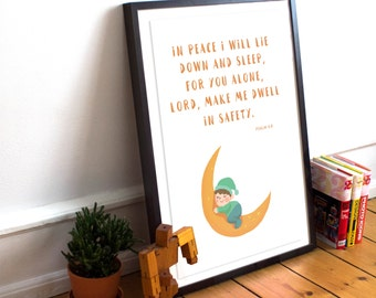 Dwell In Safety, Psalm 4:8, Bible Verse Print, Printable Wall Art, Moon Decor, Scripture Print, Sleep Decor, Nursery Art, INSTANT DOWNLOAD