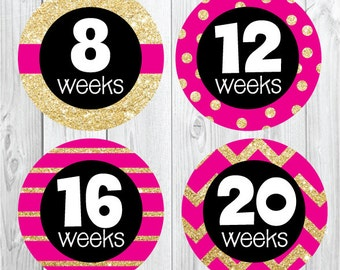 Pregnancy Stickers, Hot Pink and Gold Glitter, Maternity Stickers, Weekly Pregnancy Stickers, Belly Bump, Baby Bump, Expectant Mom