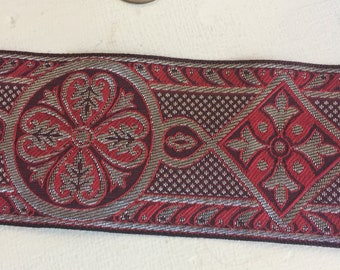 Red silver Celtic cross vestment trim 2.5 in. wide by