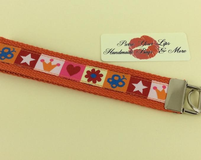 Key Fob Wristlet Key Ring Chain Wrist Strap Lanyard Wedding Favours Crowns and Stars