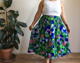 Vintage Handmade Tropical Floral Full High Waisted Skirt