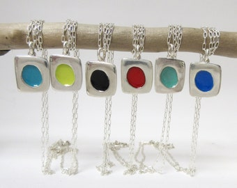 Tiny Vitreous Enamel and Sterling Silver Necklace - Choose Your Color