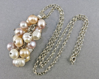 Vintage Pearl Necklace Sterling Necklace With Real Pearls Statement Necklace Wedding Jewelry Gift For Her Pearl Beads