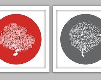 Two Square Fan Coral Art Prints (Red and Grey)