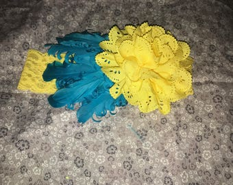 Yellow and turquoise feather band