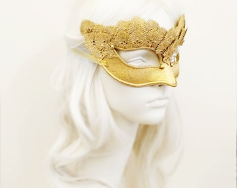 Pure Gold Lace Masquerade Mask With Brocade Fabric - Venetian Style Mask With Embroidery - For Masquerade Ball, Prom, Costume Party, Wedding