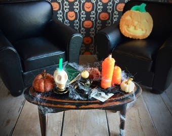 Dollhouse coffee table, Halloween miniature furniture and accessories
