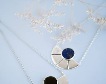 Sun sterling silver lapis necklace, silver 925 lapis statement pendant, geometric sun silver lapis lazuli necklace, minimal stone necklace
