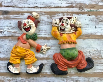 Vintage 60's clowns/ Homco clown wall art/ humorous wall hangings/ kitsch clowns/ colorful clowns/ vintage funny clowns/ kitsch wall art