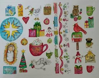 Christmas stickers full set