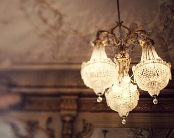 Paris Chandelier Photography, Paris Decor, Bedroom Wall Decor, Gold Decor, Romantic Wall Art, Feminine Art - The Golden Age