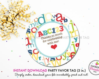 ABC Alphabet Birthday Party - Printable 3 inch Birthday Party Favor Tags - Instant Download PDF File