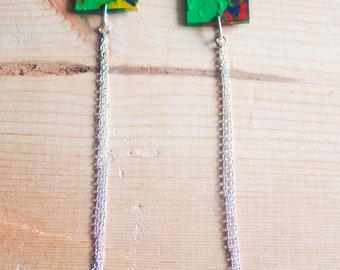 Ethnic Earrings, Wood Earrings, Colorful Earrings, Square Earrings, Long Earrings