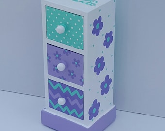 turquoise and purple personalized  jewelry box, any design and color, flower girl gift, bridesmaid gift, first communion gift