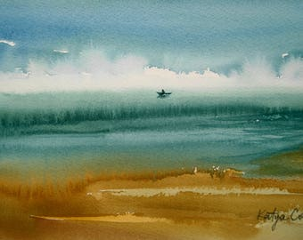 ORIGINAL Watercolor Painting, The Boat Sketch, Seascape Watercolor, Seascape Painting, Original painting, Wall Art, Watercolor Sketch