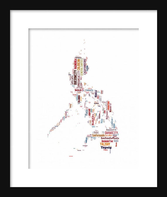 Philippines map typography color map poster print text map publicscrutiny Images