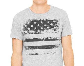 July 4t T-shirt, Gray T-shirt,Man's t-shirt, Patriotic shirt, American flag, American flag shirt