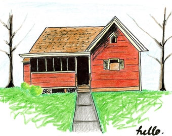Red House Note Card