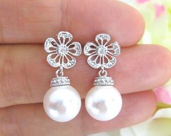 Bridal Pearl Earrings Wedding Jewelry Swarovski 10mm Round Pearl Dangle Drop Earrings Bridesmaids Gift Floral Earrings (E083)