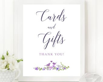 Cards & Gifts Printable Sign - Purple Garden