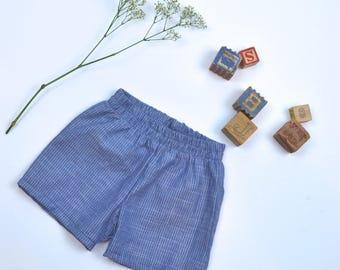 Vintage Blue Shorts with white stripe