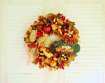 Fall Welcome Wreath, Front Door Wreaths, Autumn Wreaths, LG Fall Wreaths, Pumpkin Wreaths, Thanksgiving Wreaths, Fall Leaves Wreaths    W210