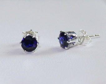 Blue Sapphire Earrings Sterling Silver / Silver Sapphire Earrings Stud