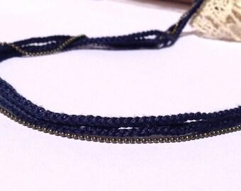 "Headband Bleu marine 3 tresses + chaine LIANES - Coiffure Mariage / Cérémonie / Quotidien- Collection ""Gypsy Chic"""