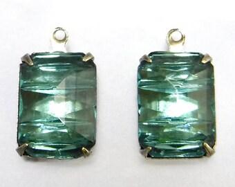 Rare Art Deco Pendant 1 Loop Aqua Blue Glass Faceted Cabochon Vintage Stones 1 pc D-80