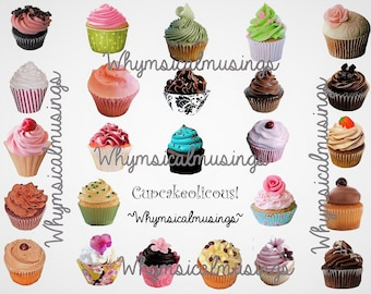 Digital Collage Sheet~ Cupcakeolicous~ Journal ~ Mixed Media ~ Altered Art ~ ATC