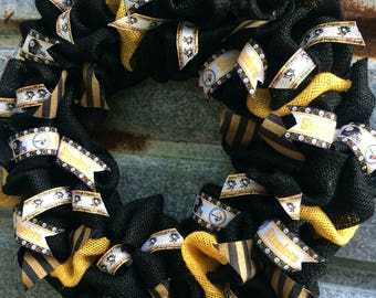 Pittsburgh Sport Teams Wreath - Pittsburgh Teams Gift - Steelers Wreath - Pittsburgh Penguins Wreath - City of Champions wreath