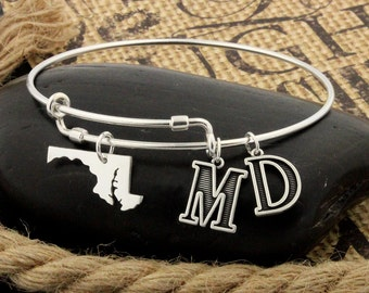 Expandable Bangle Bracelet STERLING SILVER Maryland bracelet Personalized Initial Charm Adjustable bracelet bridesmaid gift (S-13)
