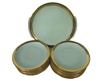 Limoges Art Deco Gilt Desert Plates S/11