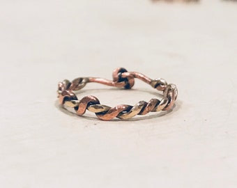 Mixed Metal Twist Band ~ Brass and Copper ~ Copper Twist Gathering ~ Solid Metals ~ Custom Sizing between 2-15 available ~ Artisan Jewelry