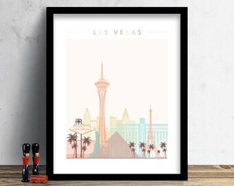 Las Vegas Skyline, Print, Watercolor Print, Wall Art, Watercolor Art, City Poster, Cityscape, Home Decor, Christmas Gift PRINT