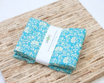 Large Cloth Napkins - Set of 4 - (N1843) - Aqua Blue Flower Modern Reusable Fabric Napkins