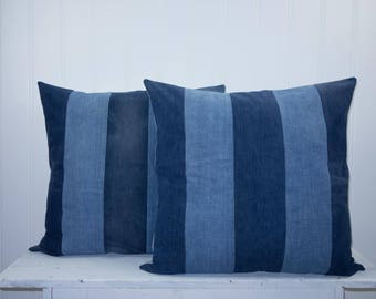 Denim Pillow Cover  – Denim Striped  –  Farmhouse Pillow  –  Organic Cotton – Striped – Blue – Grey – Bolster Pillow – Upcycled