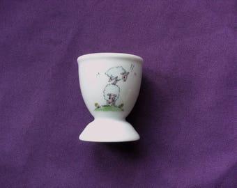 "Customizable humorous decor ""jump"" sheep hand painted porcelain eggcup"